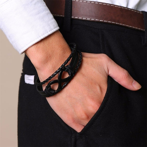 Infinity Woven Leather Bracelet