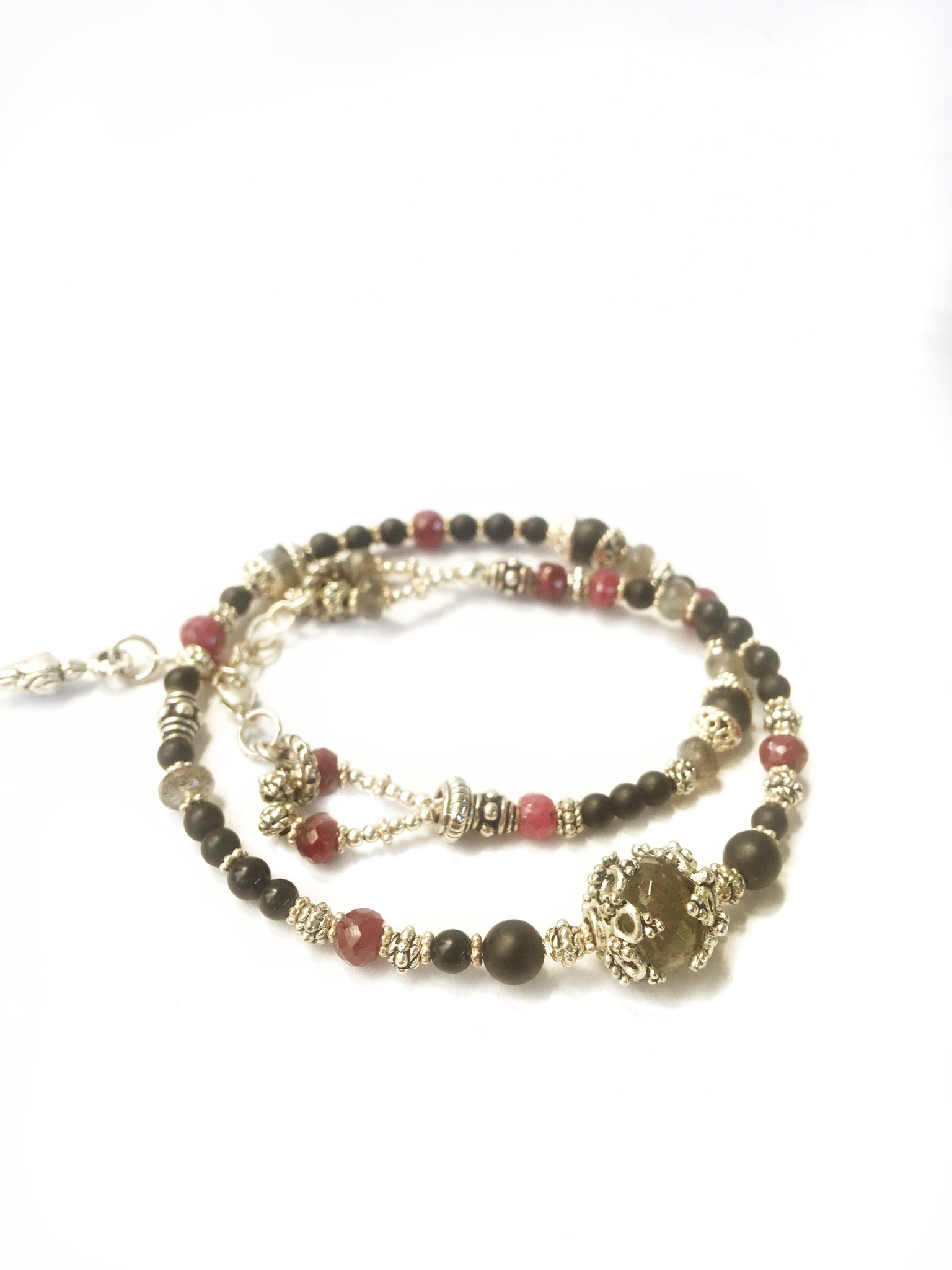 Ruby Labradorite and Onyx Wrap Bracelet