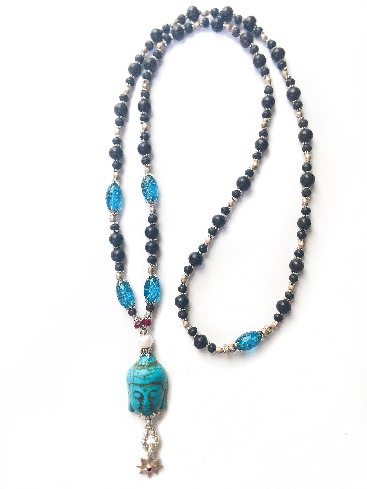Blue Compassion Buddha Long Necklace