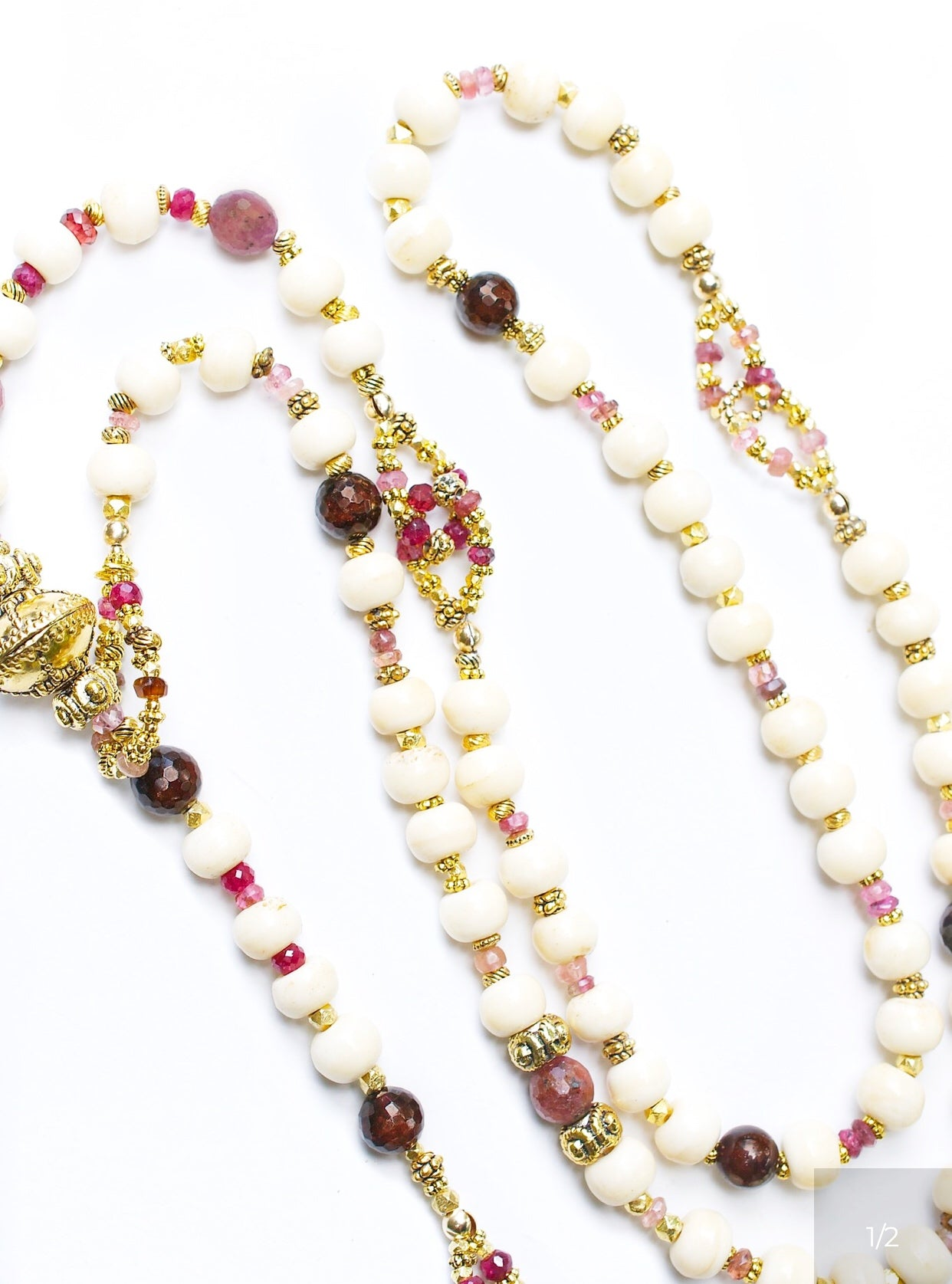 Ruby and Red Tourmaline Yummy Lariat Necklace