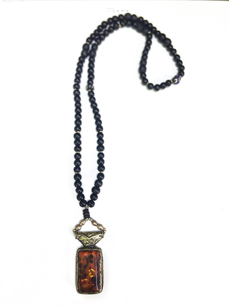 Ebony Beaded Real Amber Boho Necklace