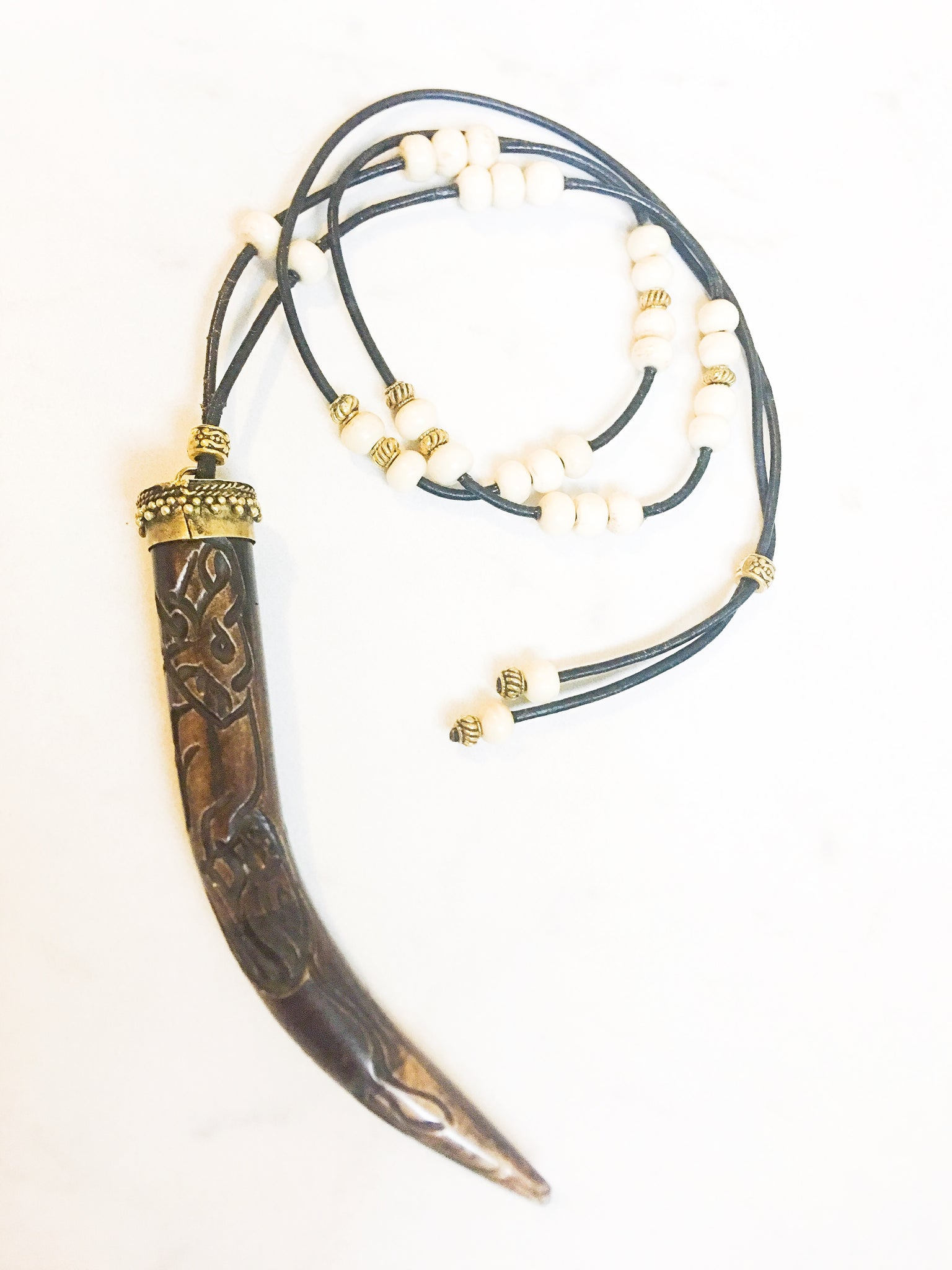 Hand Carved Wood Horn Necklace