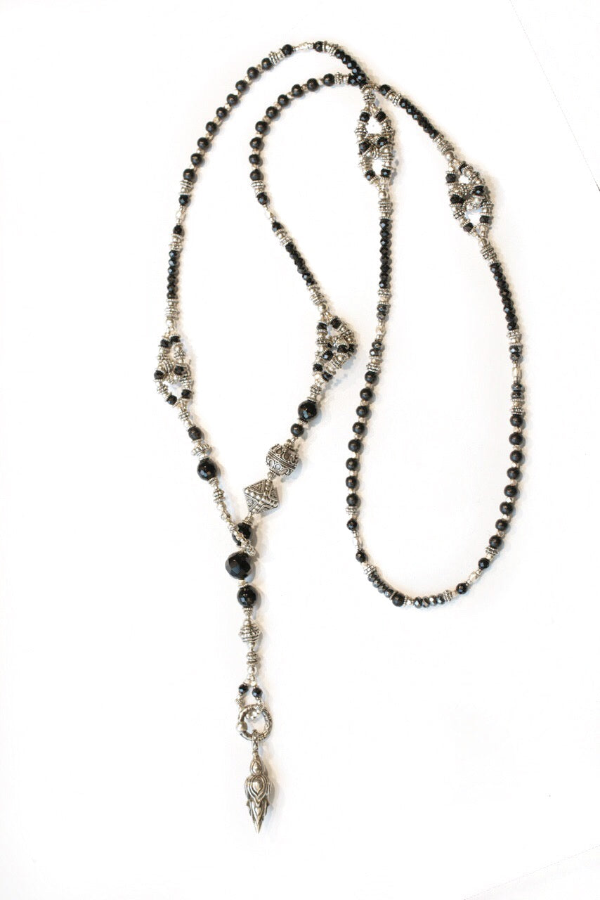 Unique Black Onyx Long Lariat Necklace