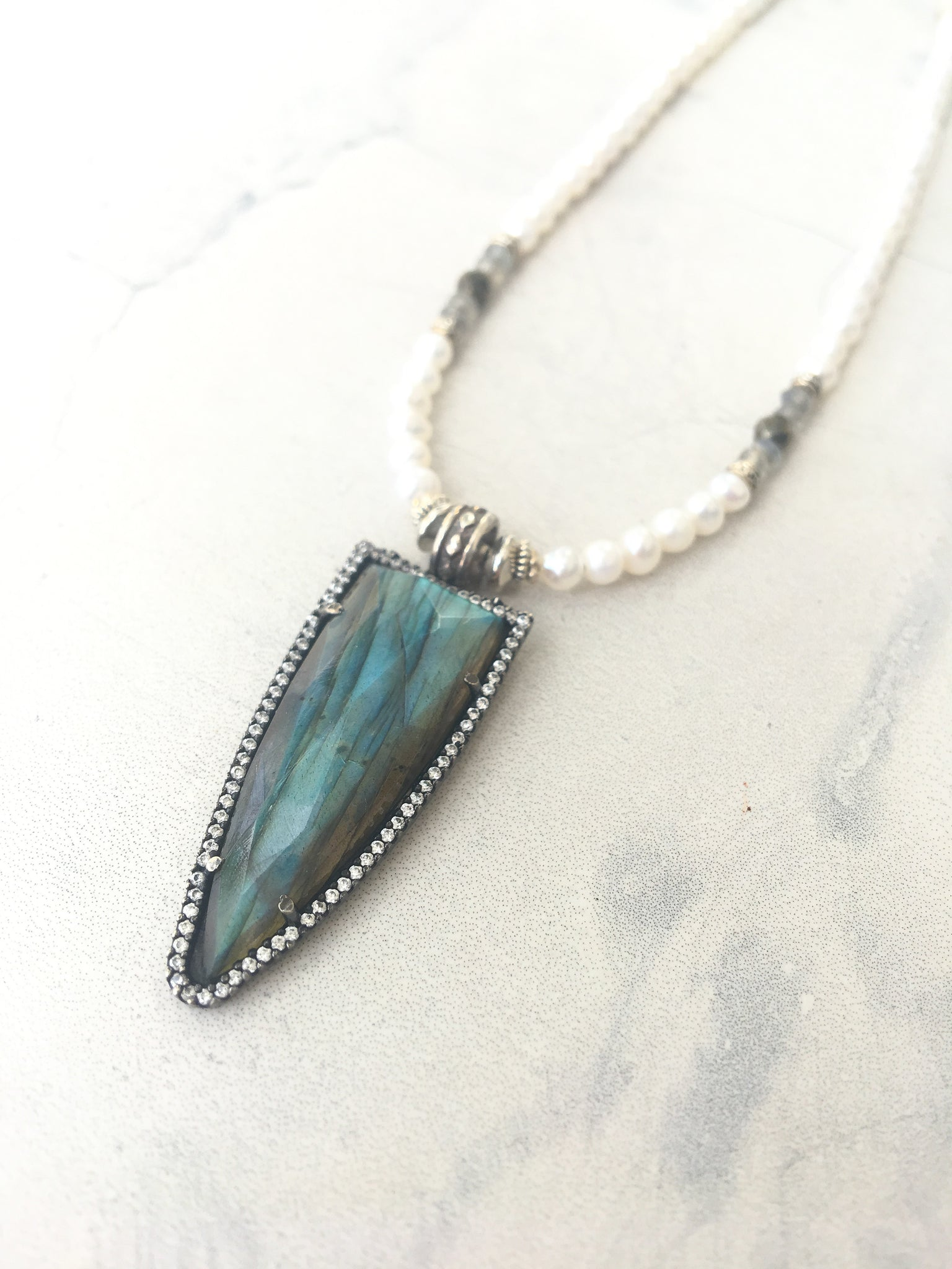 Labradorite & Pearl Energy Light Necklace
