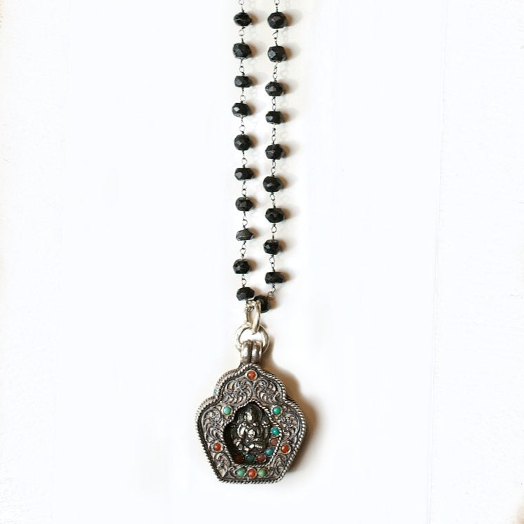 Compassion Buddha & Onyx Necklace