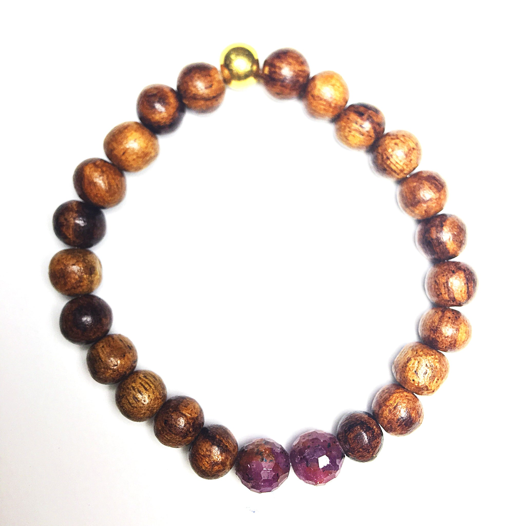 Wood and Ruby Love Inspiring Bracelet