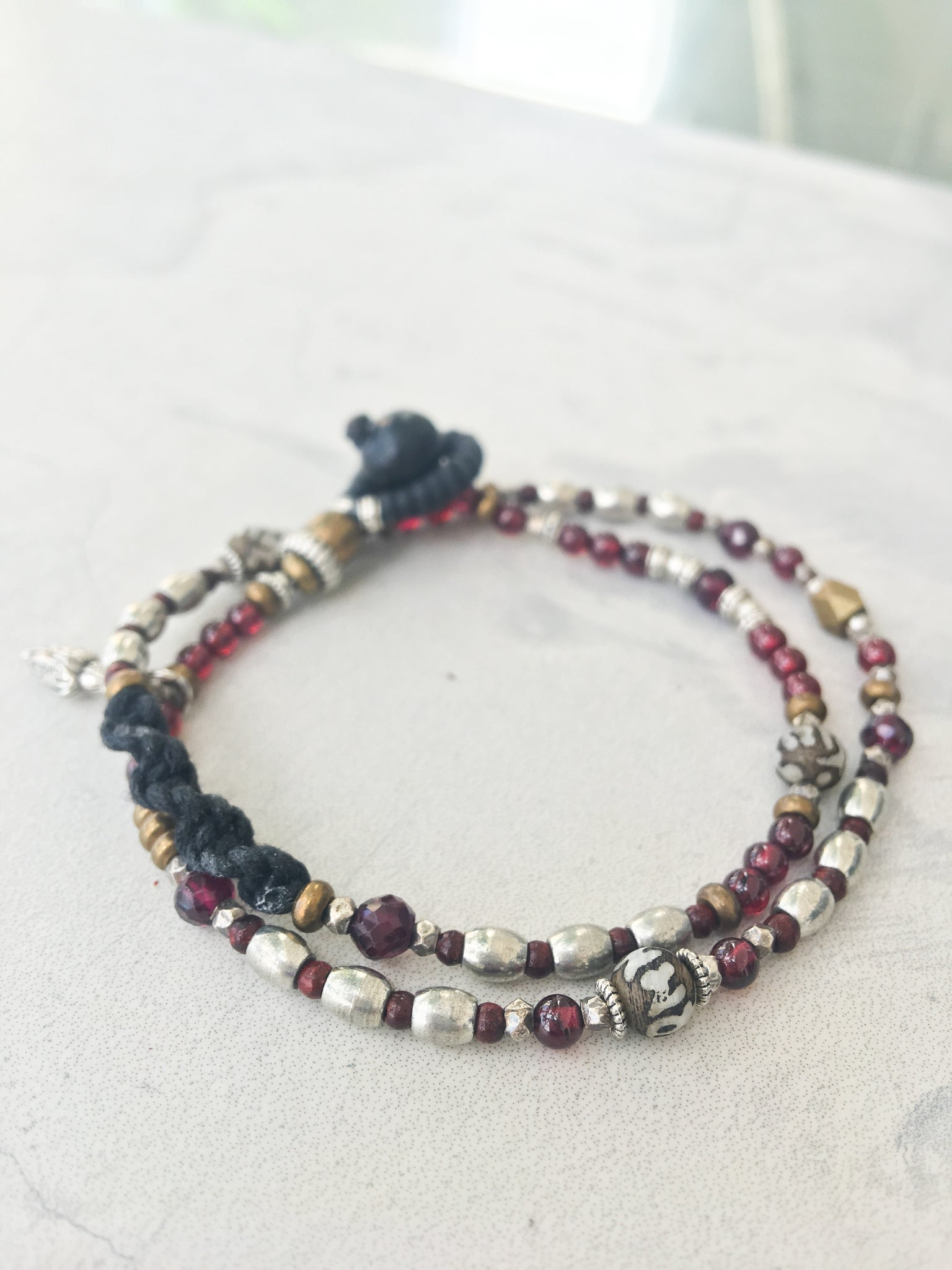 Detailed Skinny Garnet Wrap Bracelet