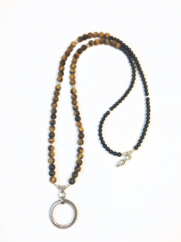 TIgers Eye & Black Onyx Eternity Eyering Necklace
