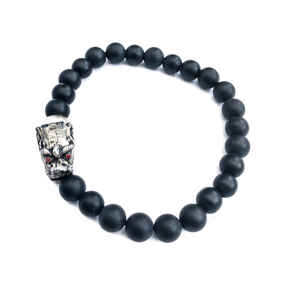 8mm Matte Onyx Dragon Stretch Bracelet