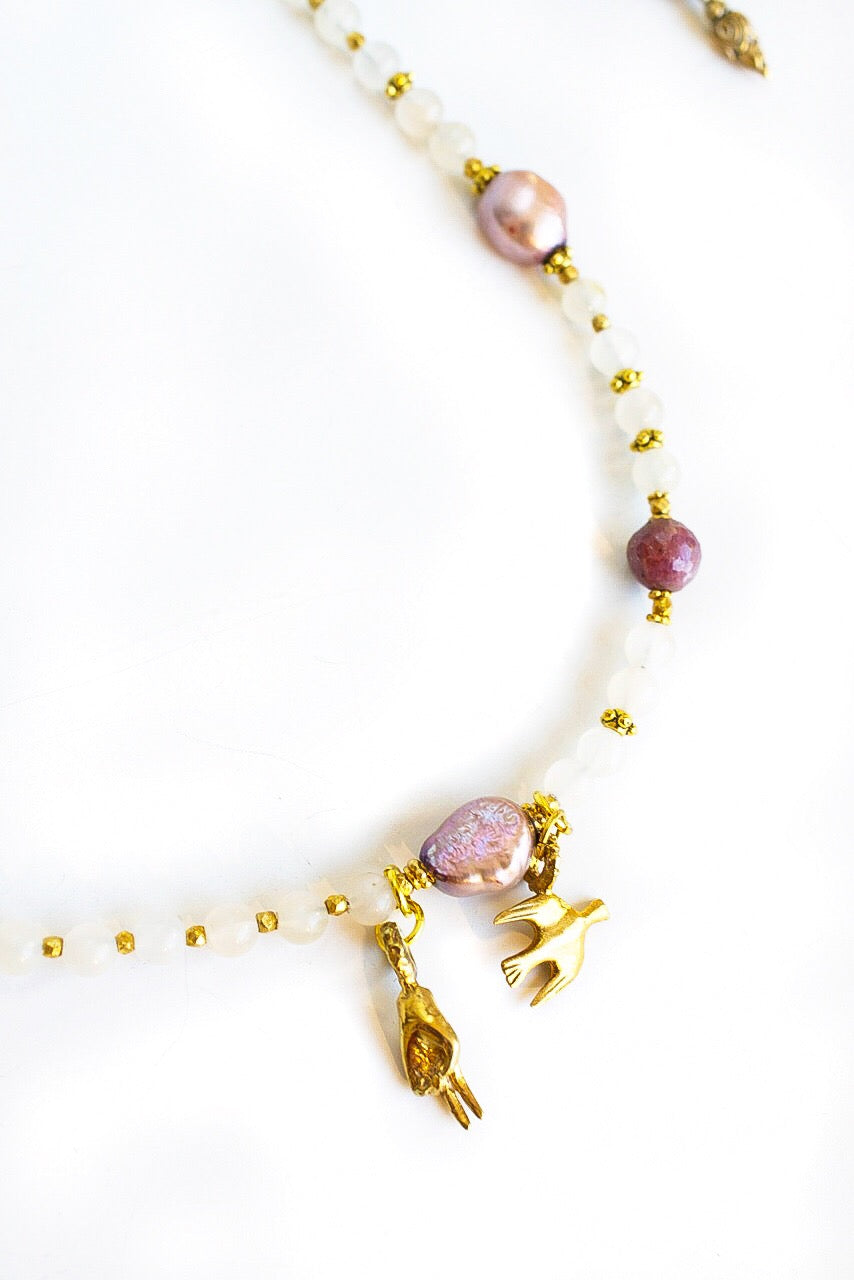 Peace Pearls & Ruby Necklace