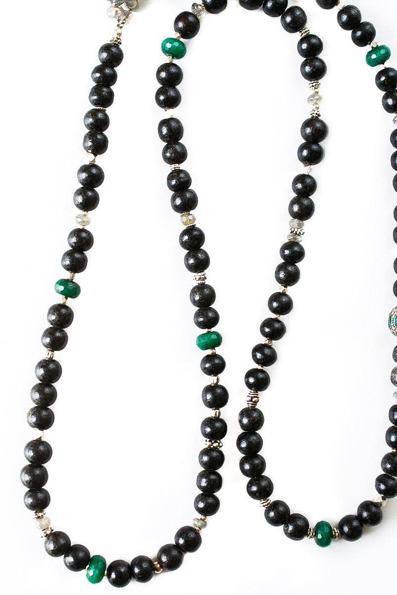 Emerald And Diamond Bead Mala Necklace
