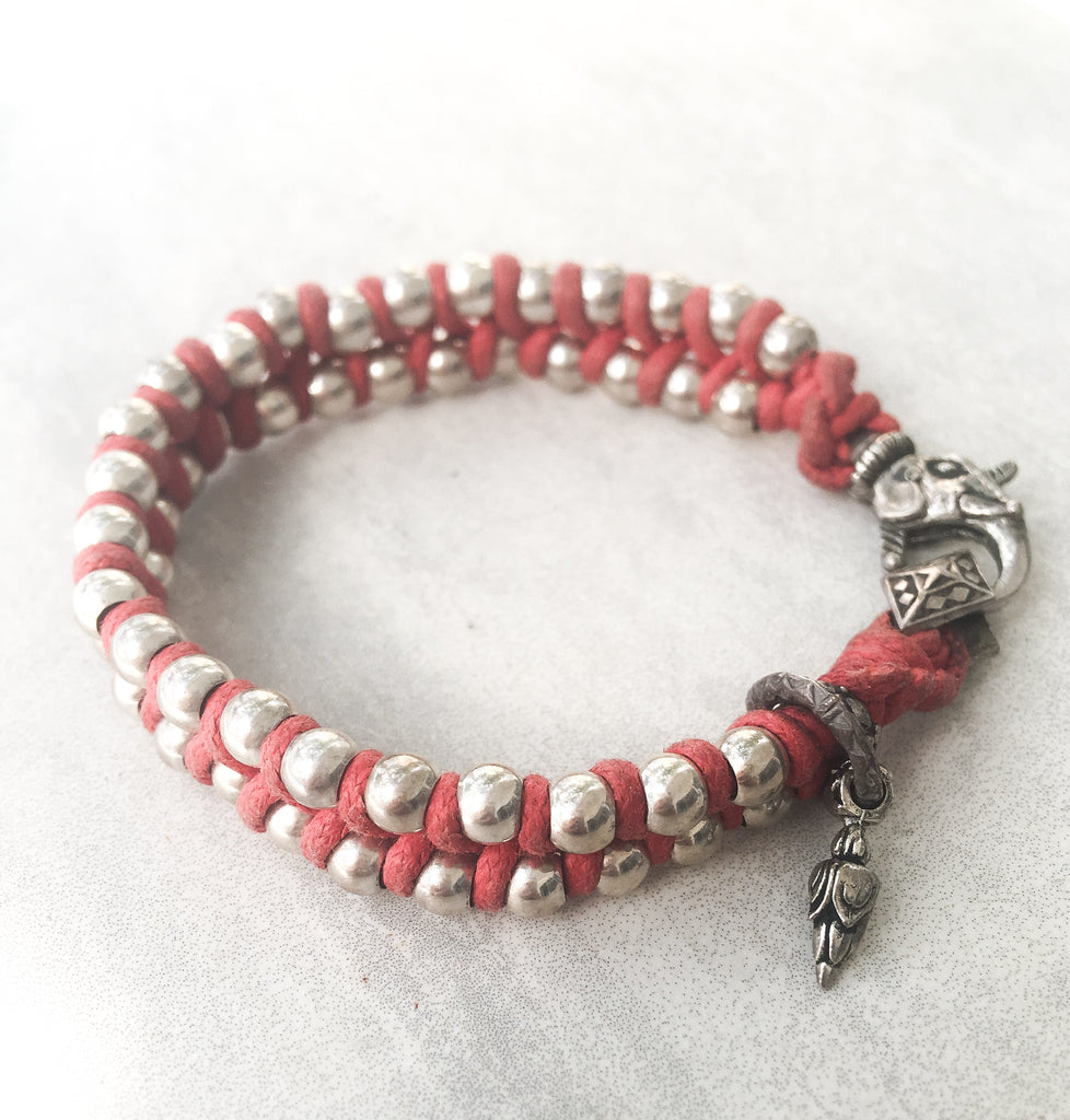 Sterling Silver Red Rope Bracelet