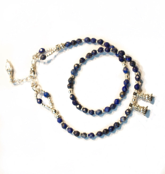 Blue Lapis and Silver Love Wrap Bracelet