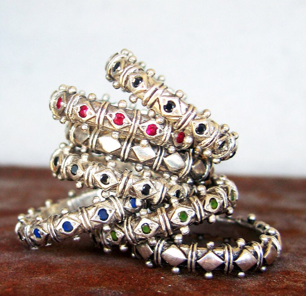 Sterling Silver Gemstone Shakti Stack Rings