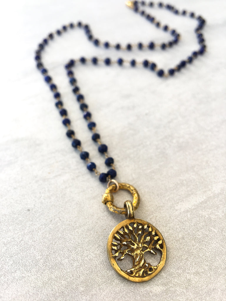 Lapis & Gold Tree Of Life Necklace