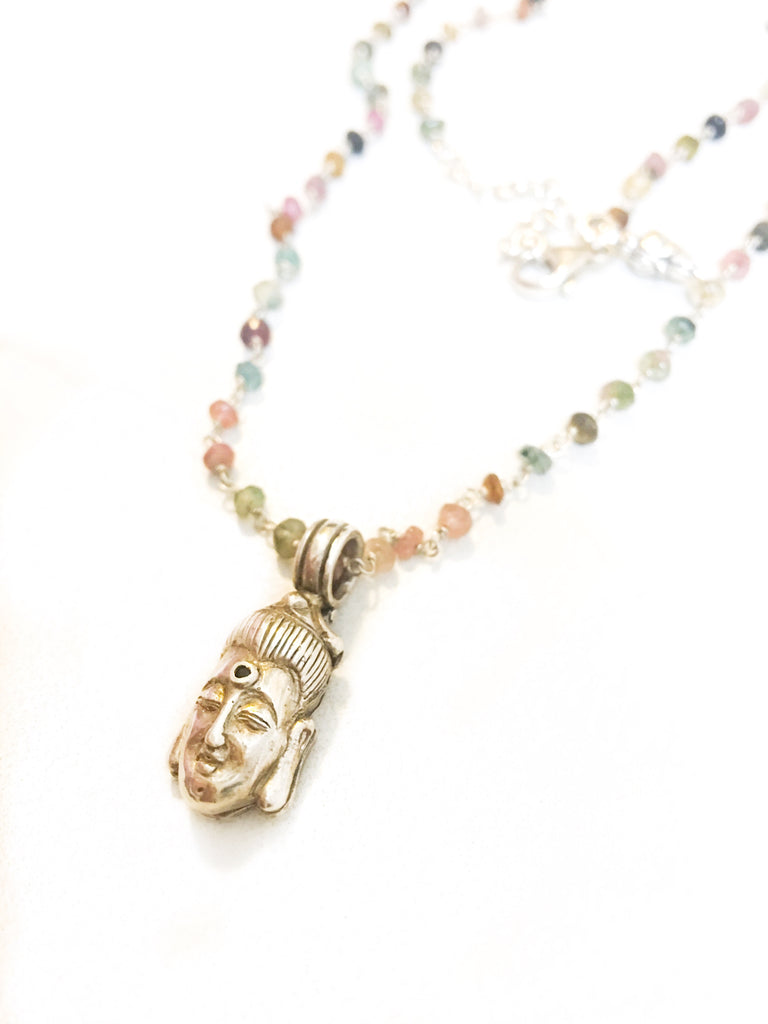 Buddha Locket on Tourmaline Necklace