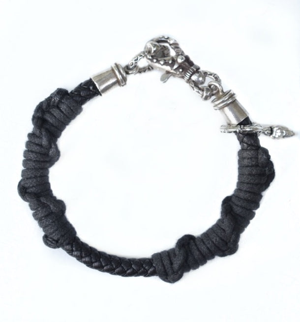 Twisted Leather and Sterling Bracelet