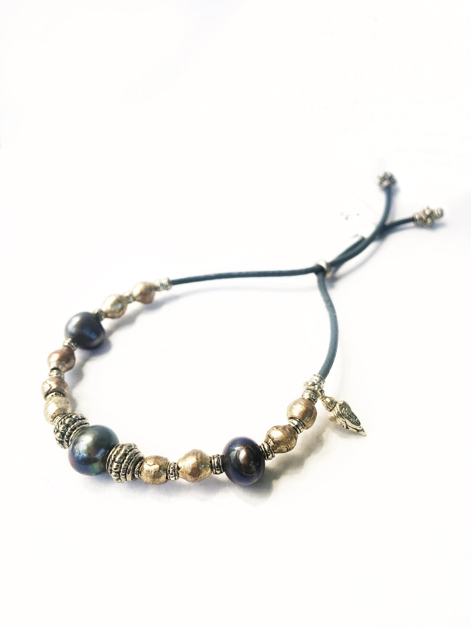 Steel Blue Pearl Adjustable Bracelet