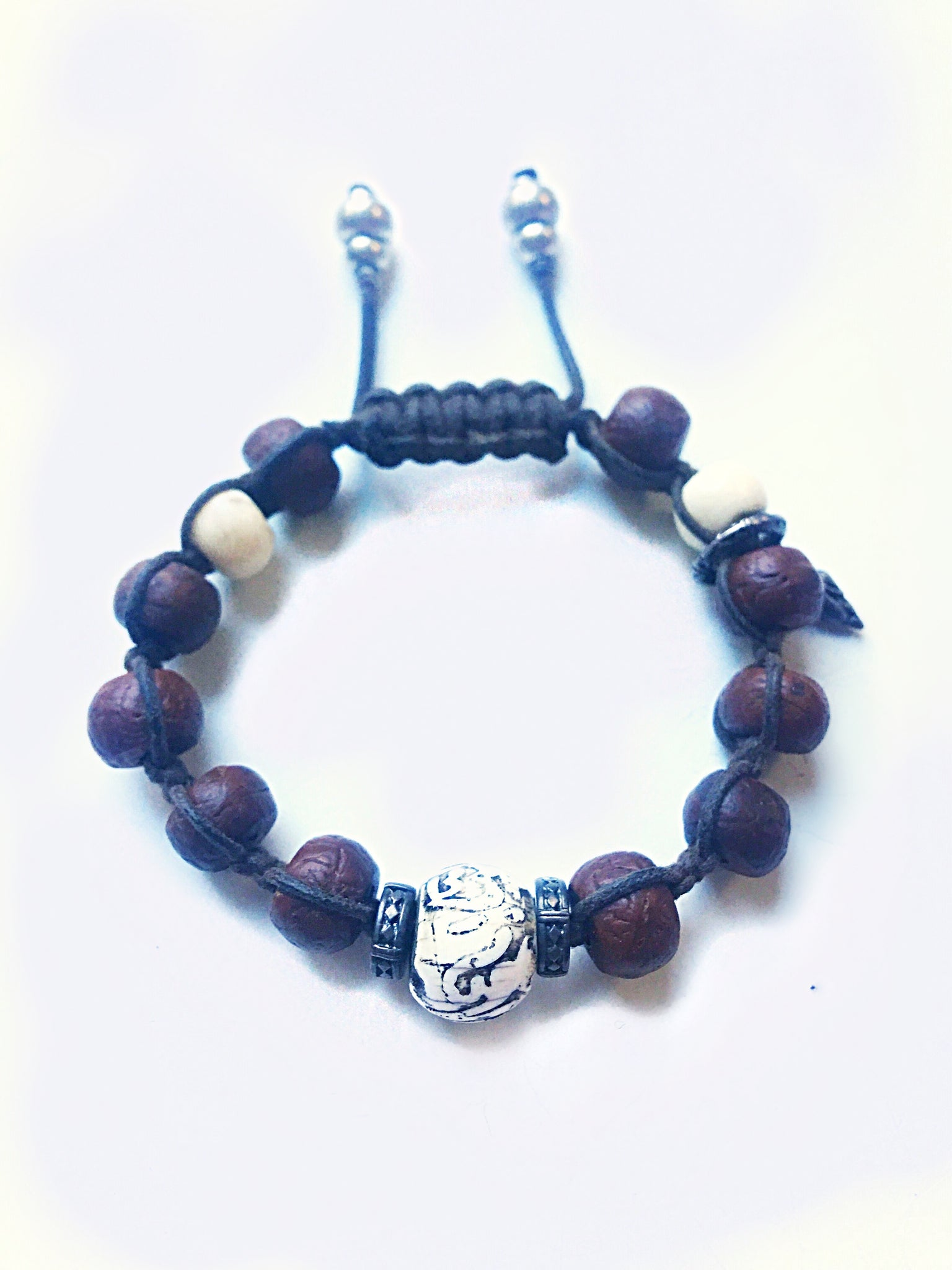 Tibetan Tzi Bead Adjustable Bracelet