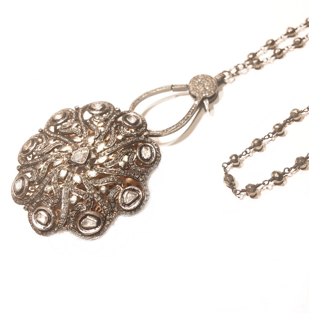 Rose Cut Diamond Pendant Chain Necklace