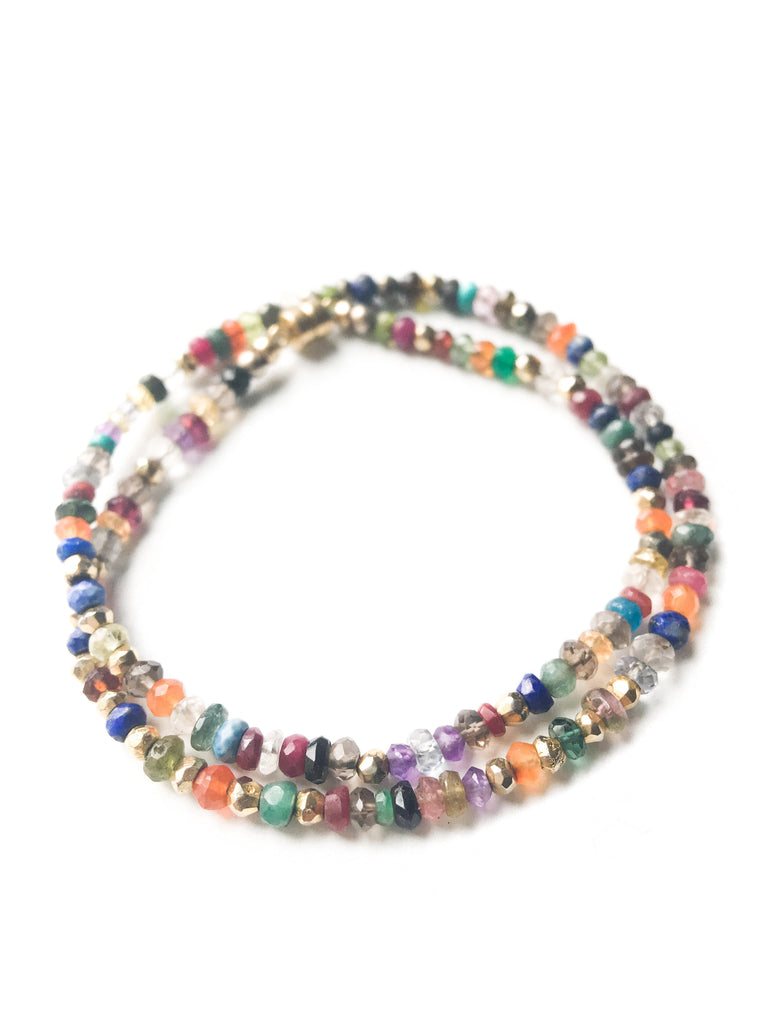 Multi Gemstone & Gold Wrap Bracelet