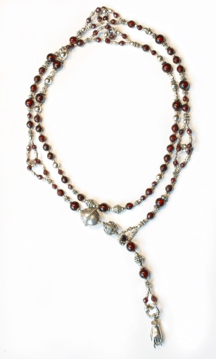 Special Garnet and Silver Lariat Necklace