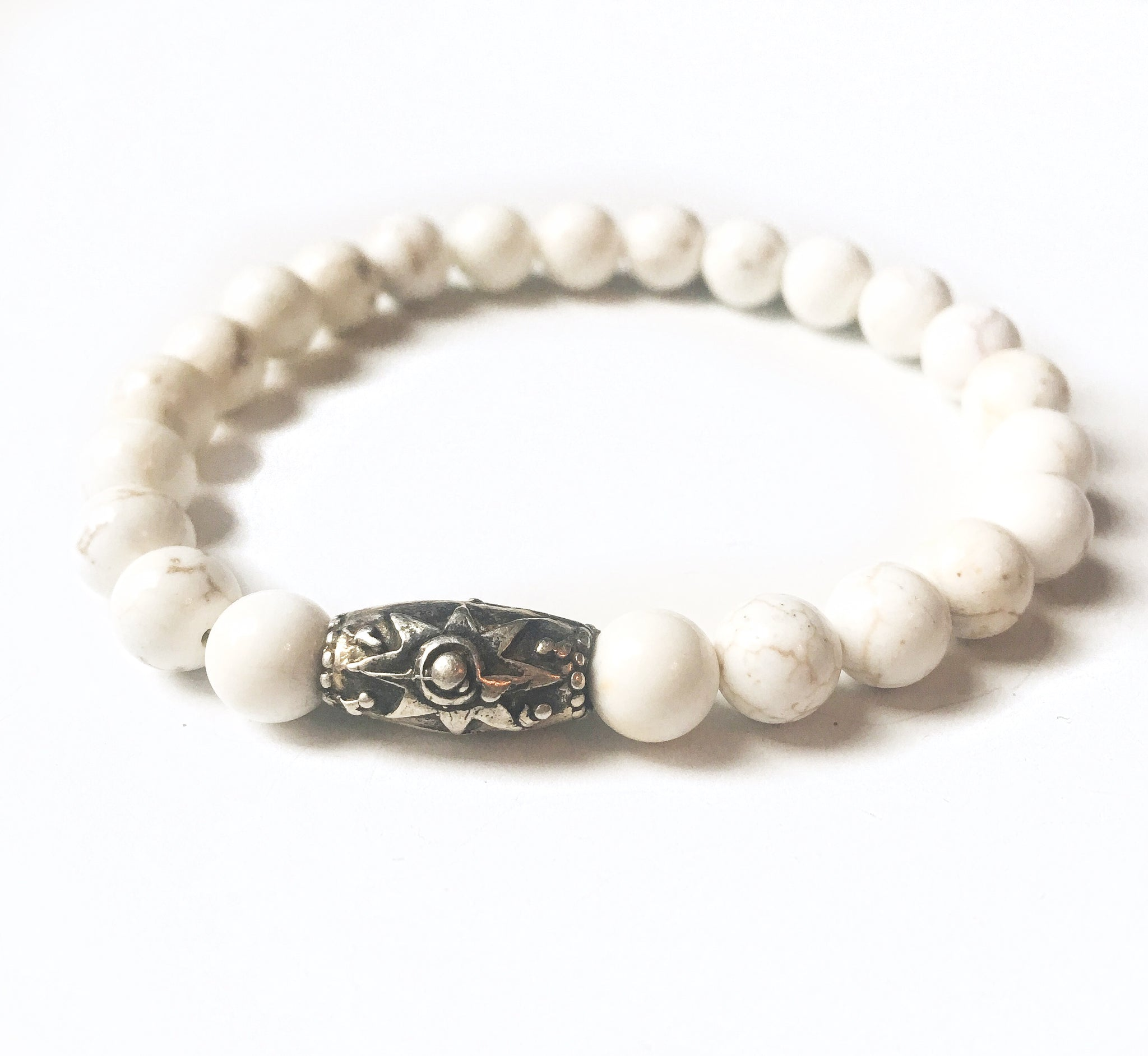 Howlite & Sterling Star Bead Stretch Bracelet