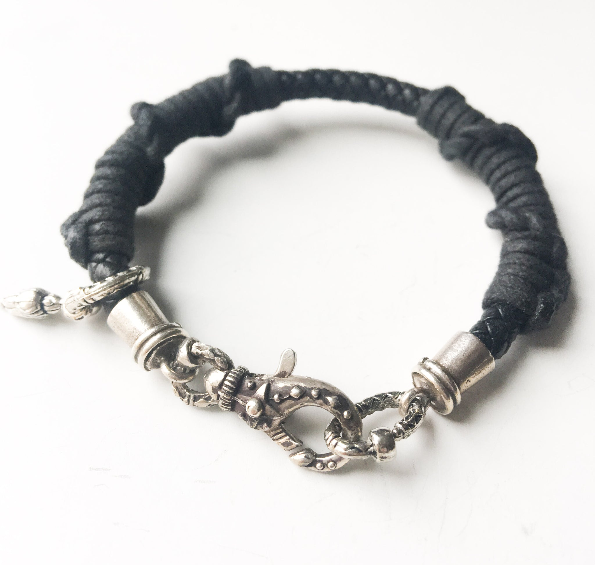 Unique Leather & Sterling Langostine Bracelet