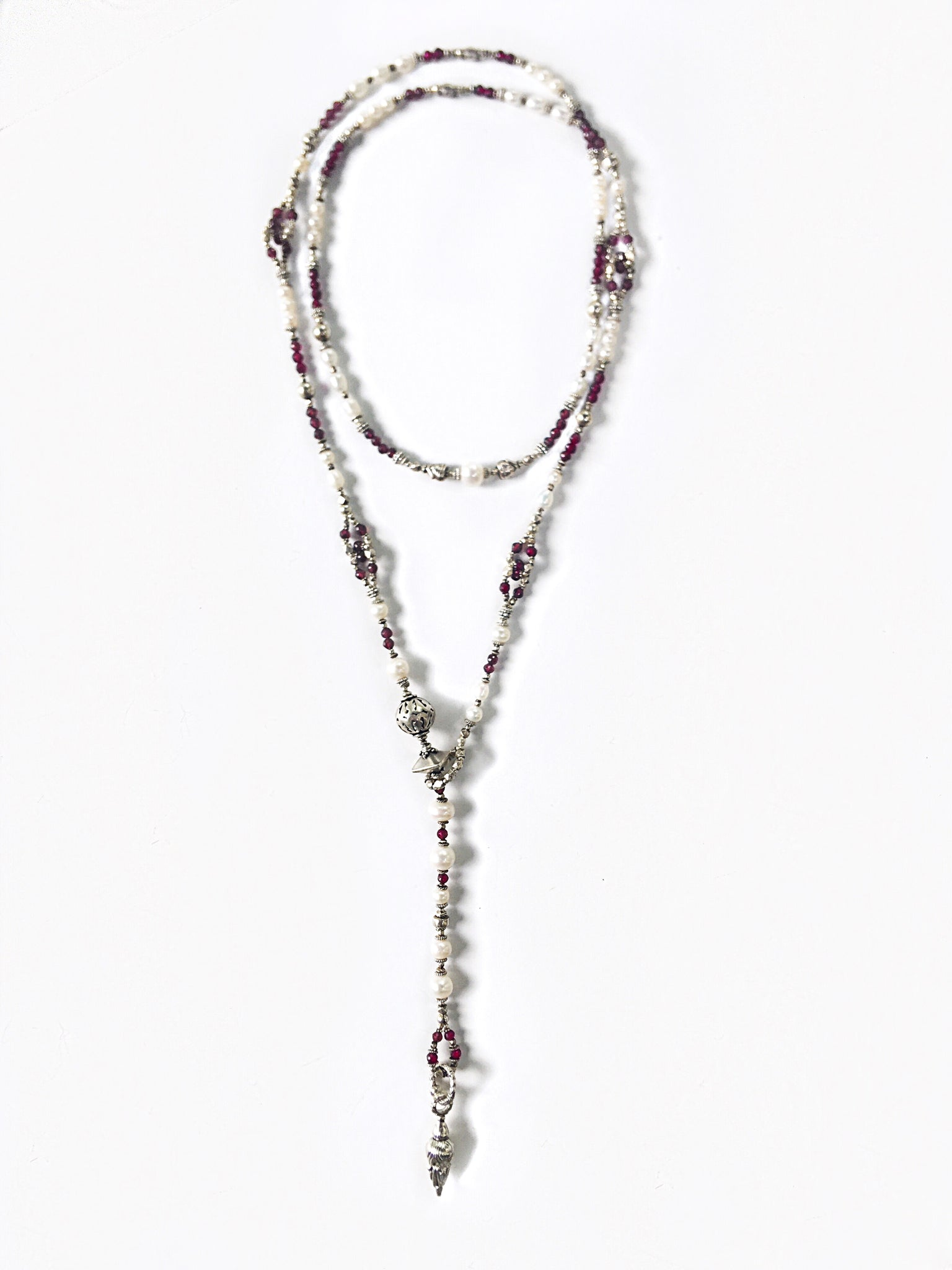 Freshwater Pearl and Garnet Long Wrap Necklace