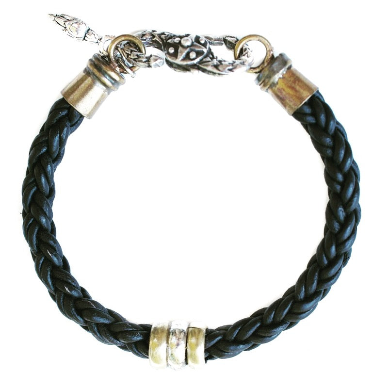 Mixed Metal Leather Bracelet