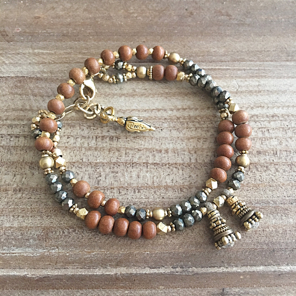 Sandalwood and Pyrite Love Wrap Bracelet