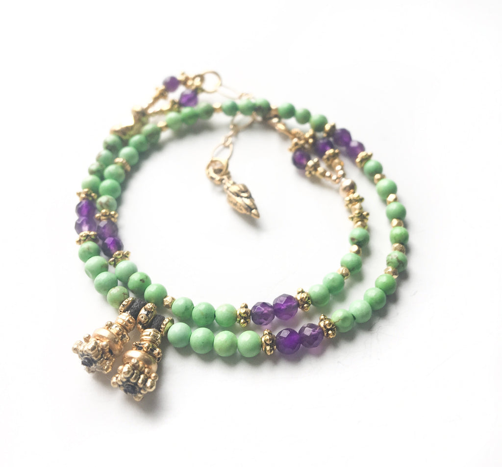 Green Turquoise & Amethyst Love Wrap