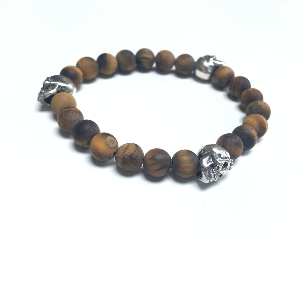 Triple Sterling Skull Tigers Eye Bracelet