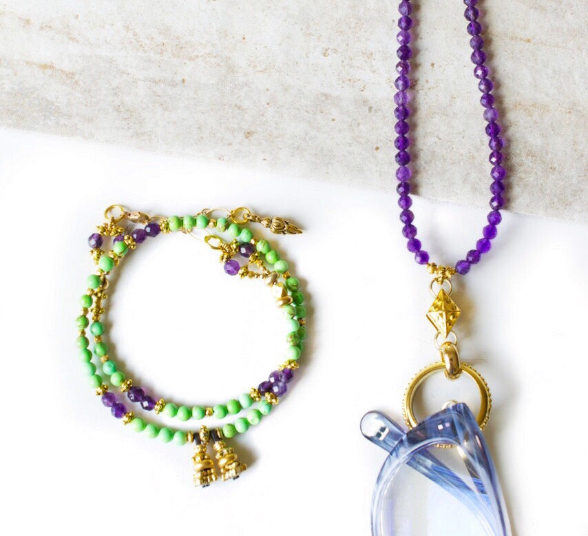 Amethyst and Gold Eyering Necklace