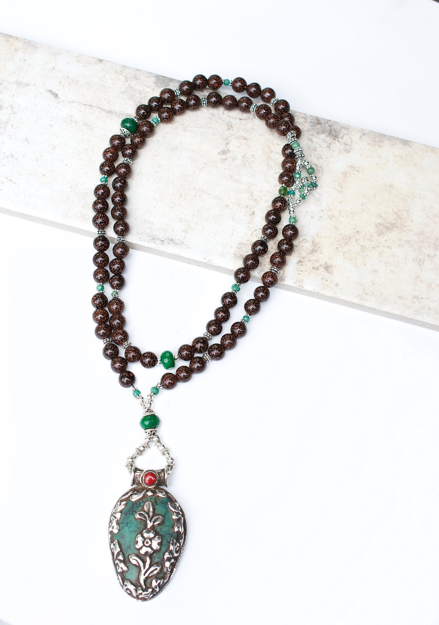 Emerald and Turquoise Mala Necklace