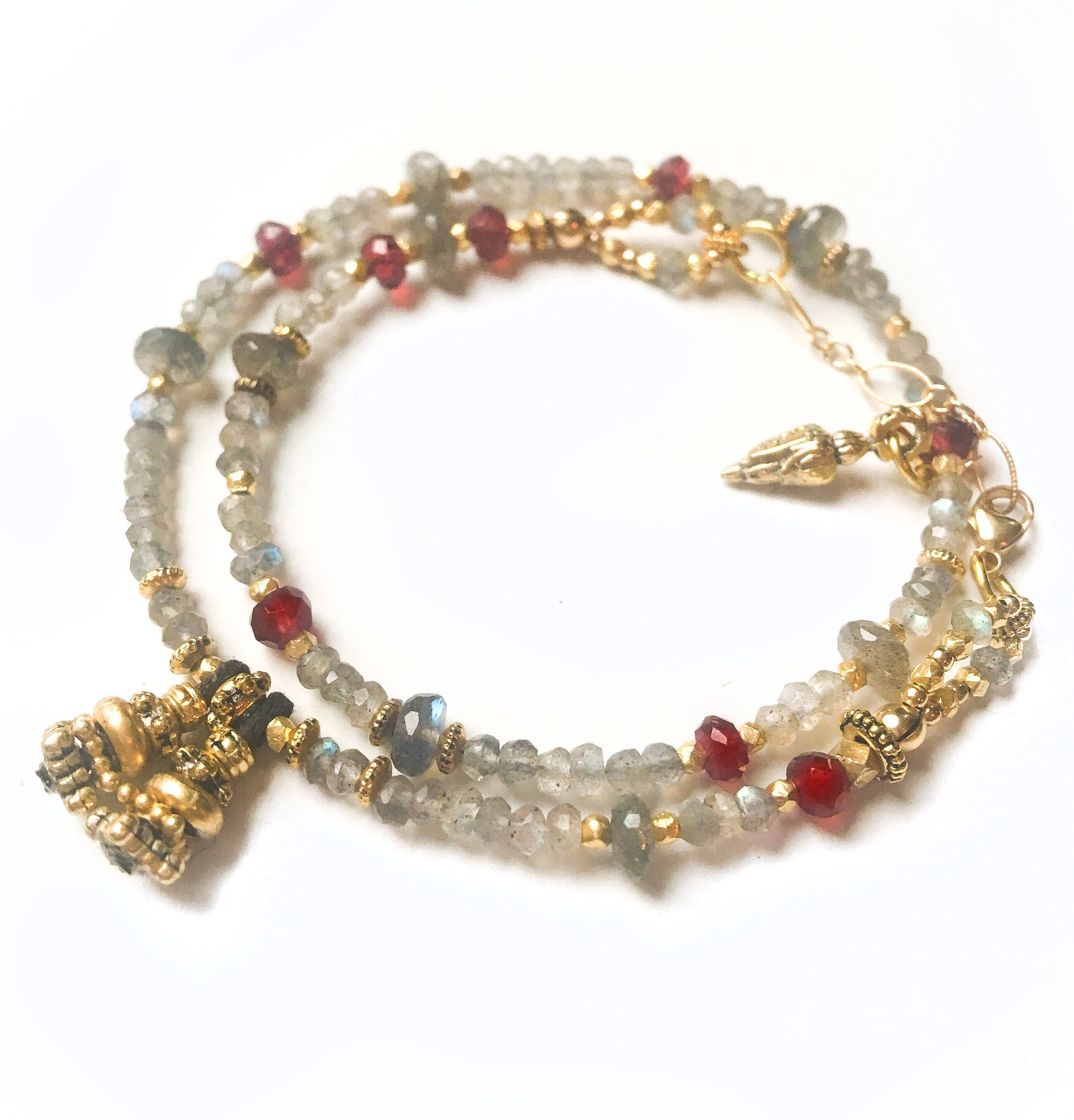 Labradorite Gold and Garnet Love Wrap Bracelet
