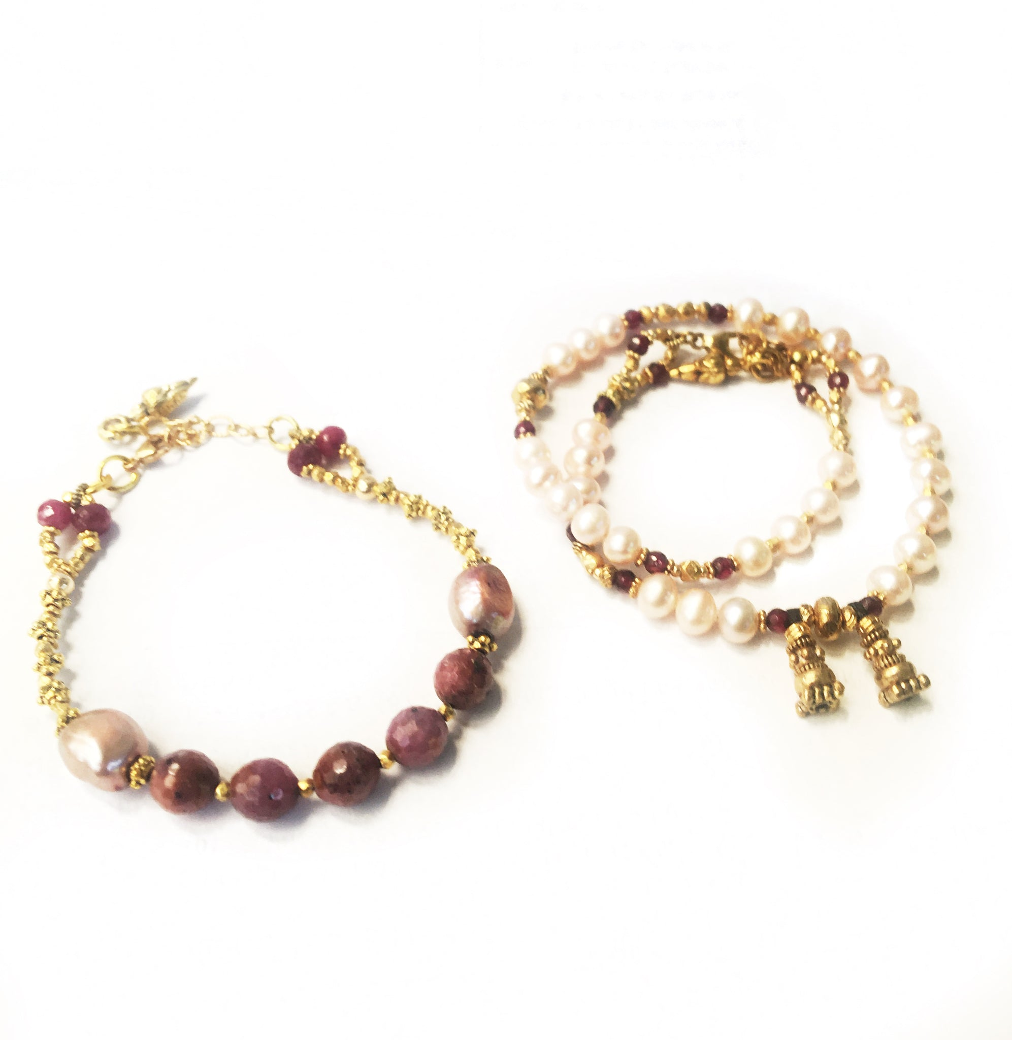Ruby and Pearl Bracelet Duo