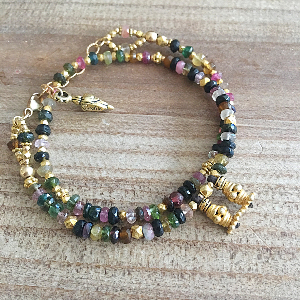 Multi gemstone and gold love wrap bracelet