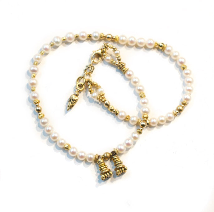 Freshwater Pearl and Gold Love Wrap Bracelet