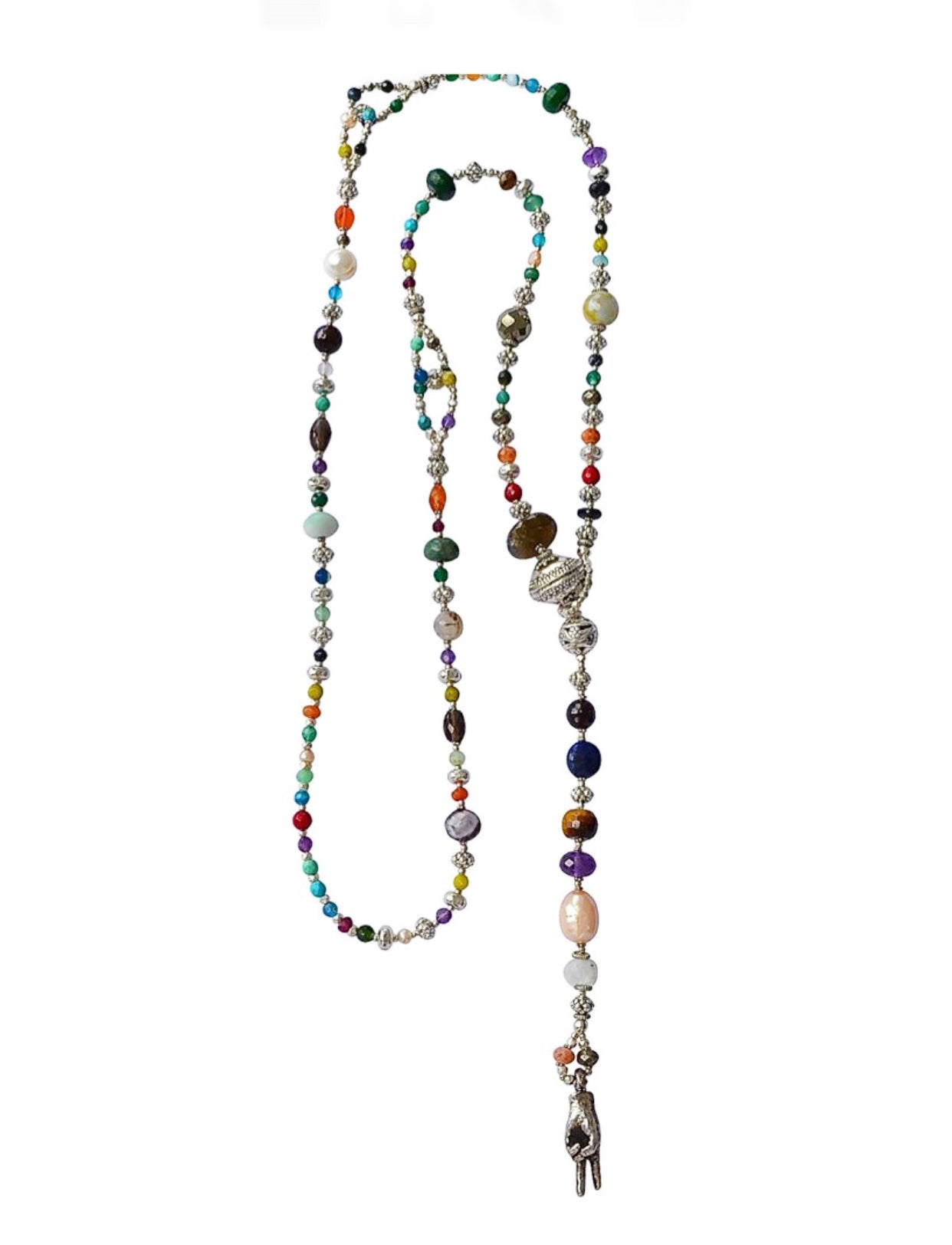 Multi Gemstone and Sterling Silver Lariat Necklace
