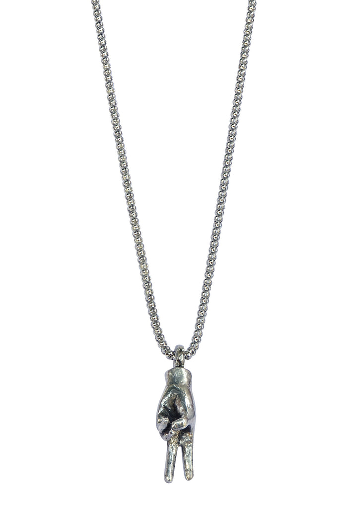 Medium 3-D Peace Hand Chain Necklace