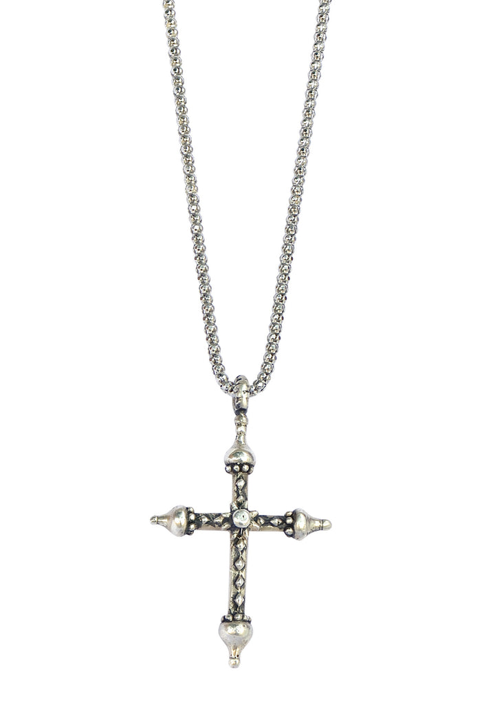 Medium Silver Artistic Cross Necklace