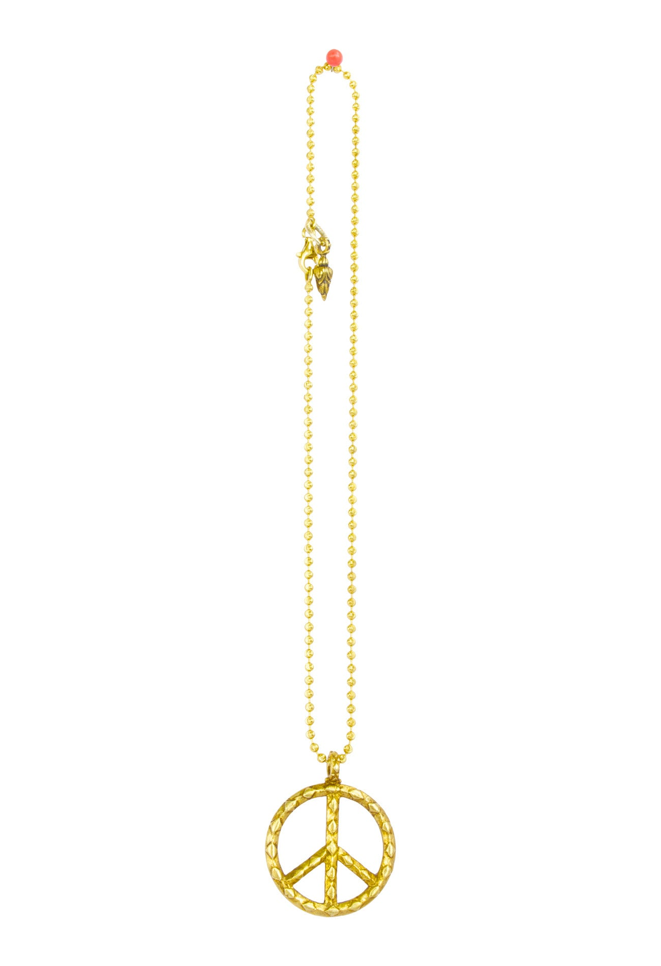 Large Gold Peace Sign On Chain