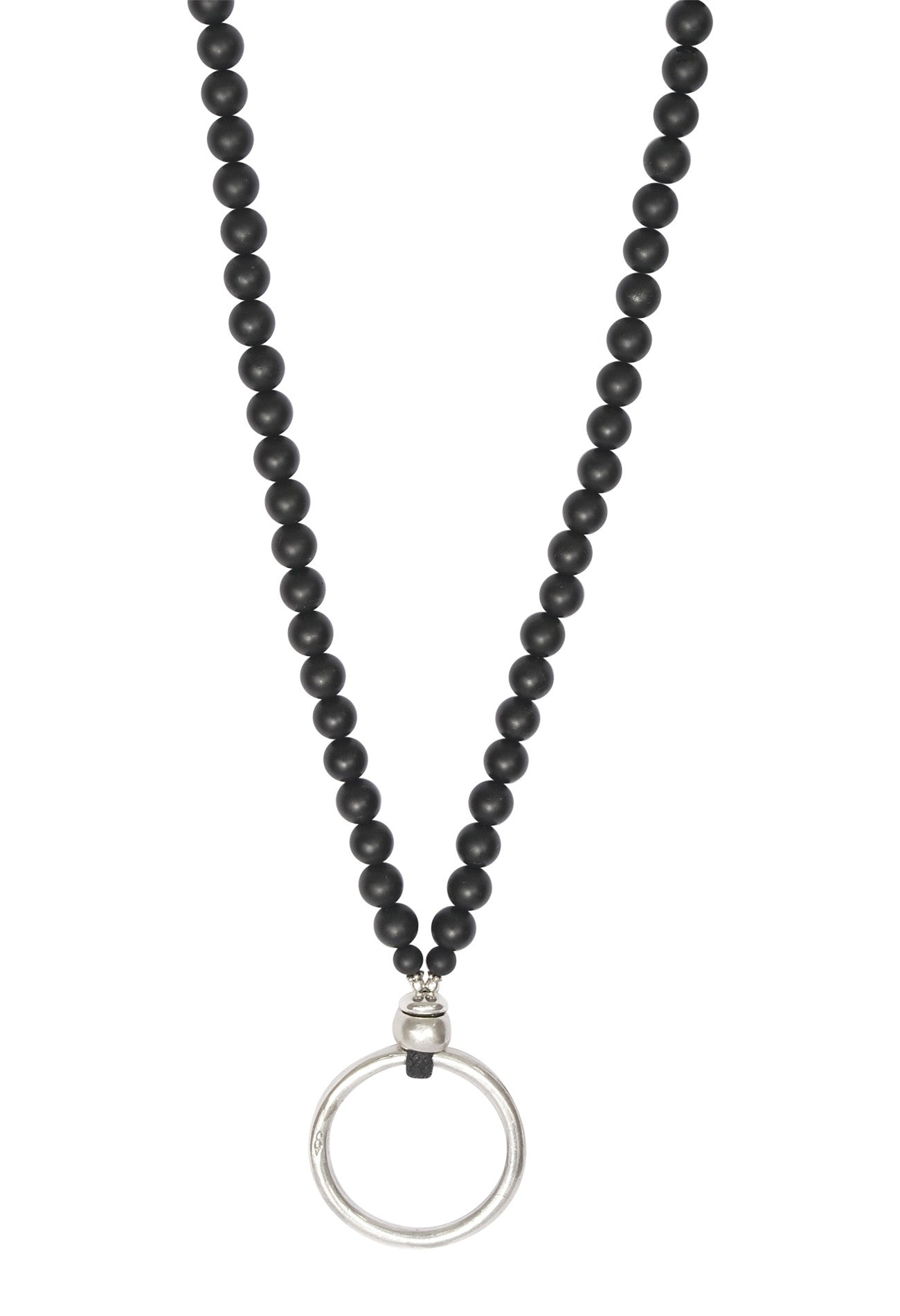 Clean Black Onyx and Sterling Silver EyeRing Necklace