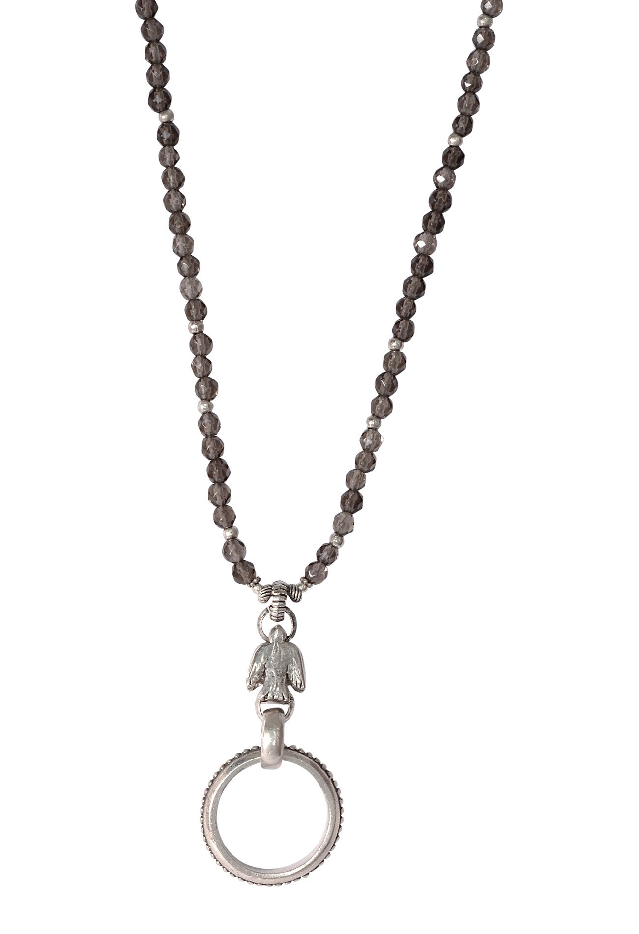 Sterling Silver Smokey Quartz Bird Eyering Necklace