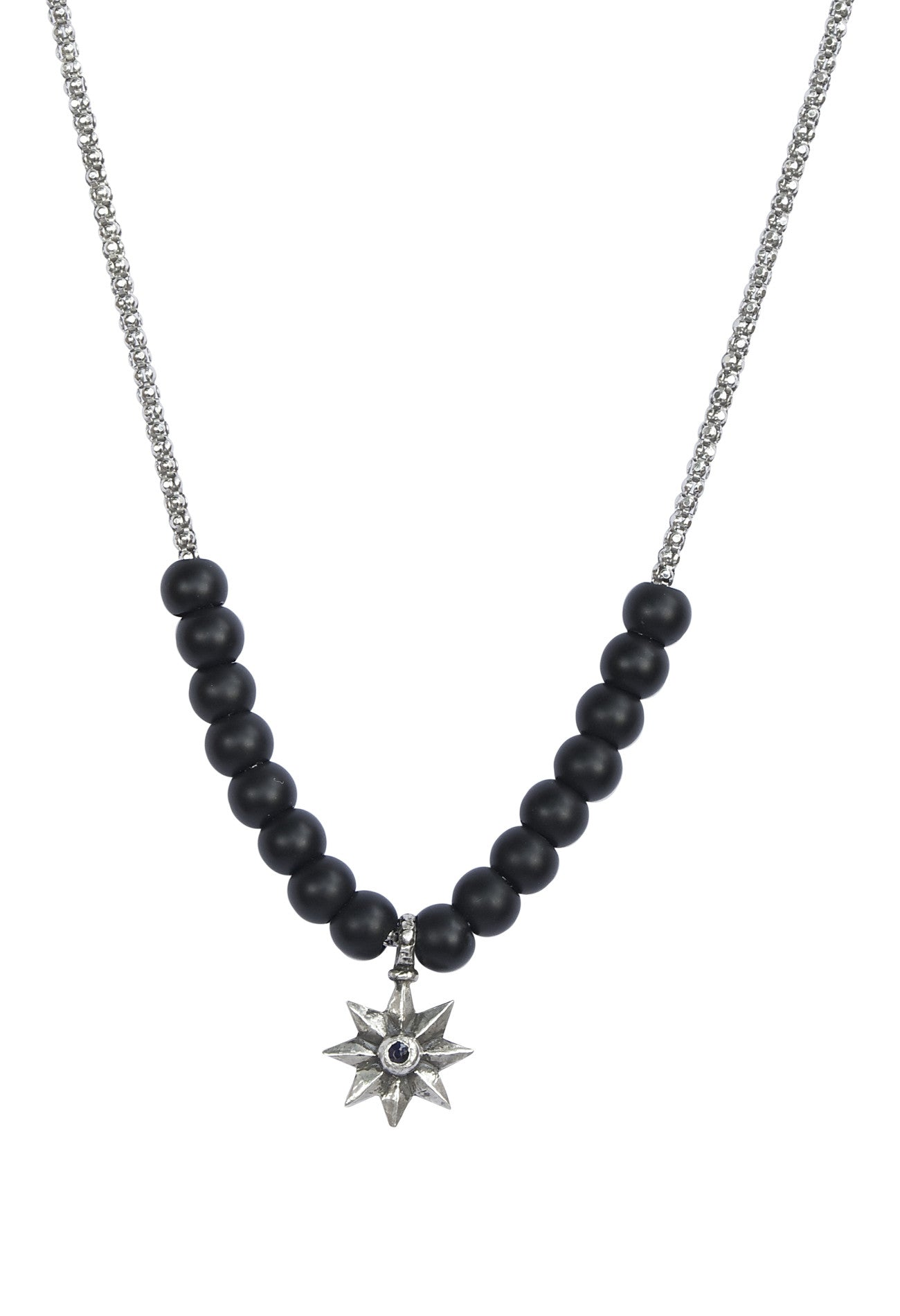 Black Onyx and Sterling Silver Chain Necklace