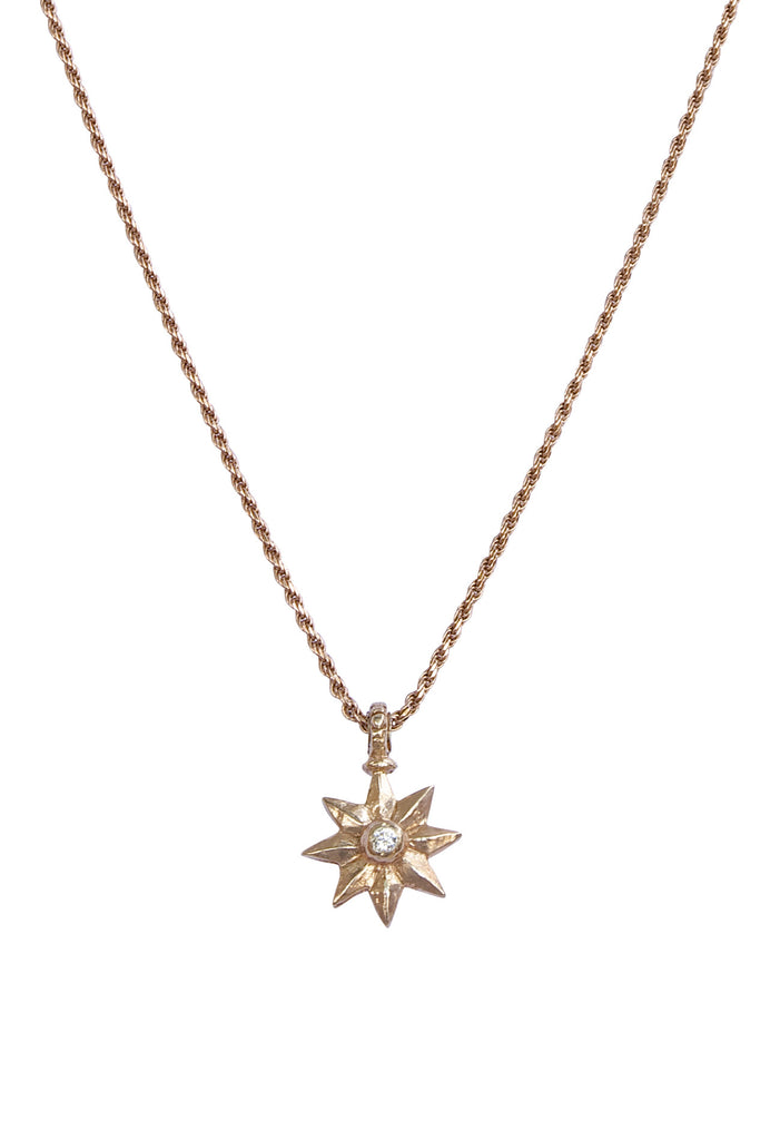 Rose Gold and White Diamond Shooting Star Necklace