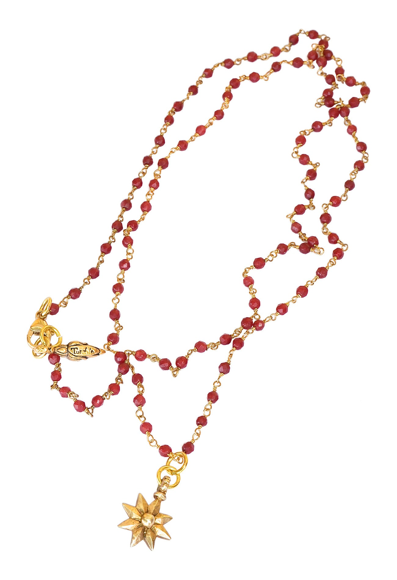 Ruby and Gold Shooting Star Necklace