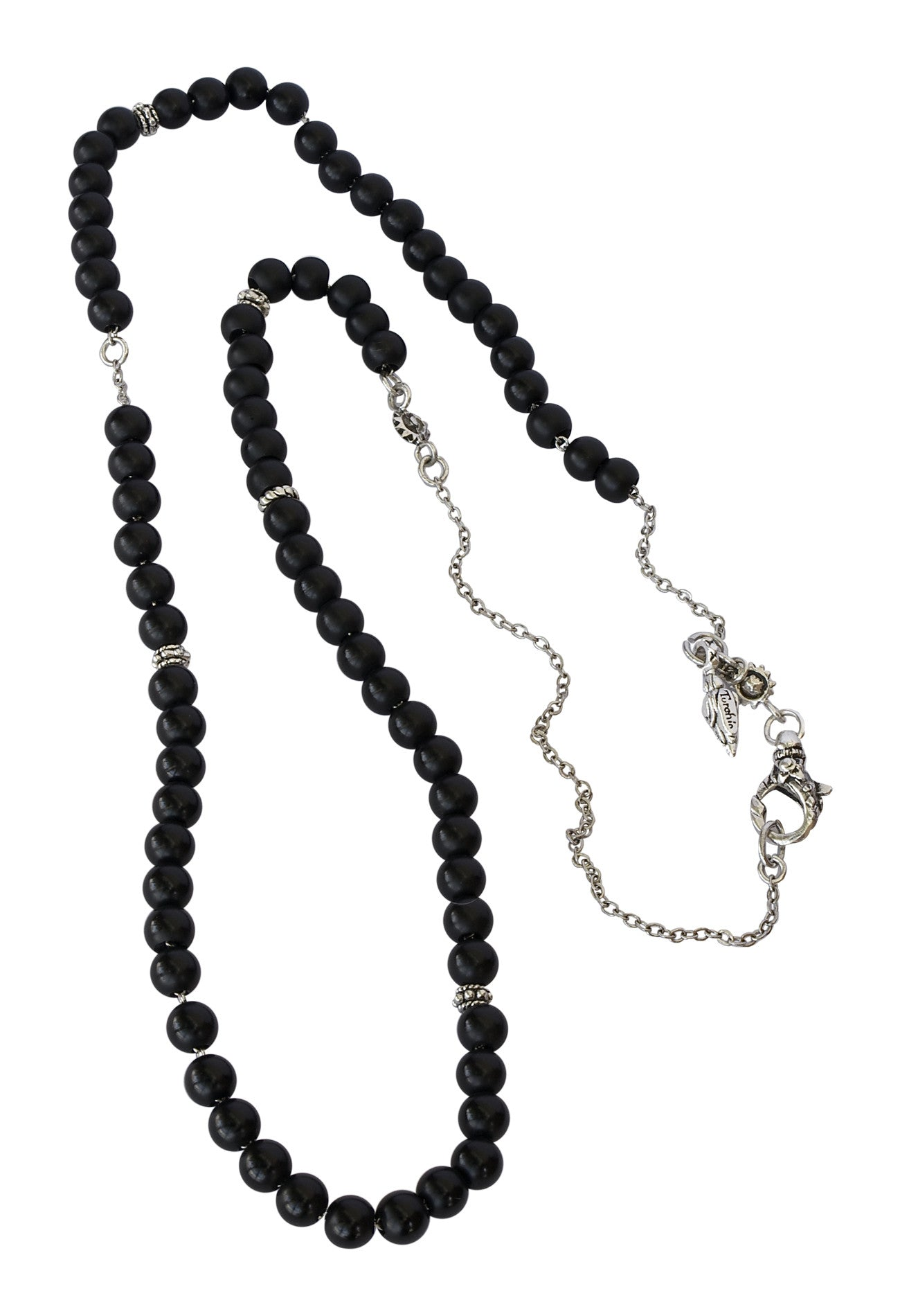 Matt Black Onyx And Silver Chain Necklace