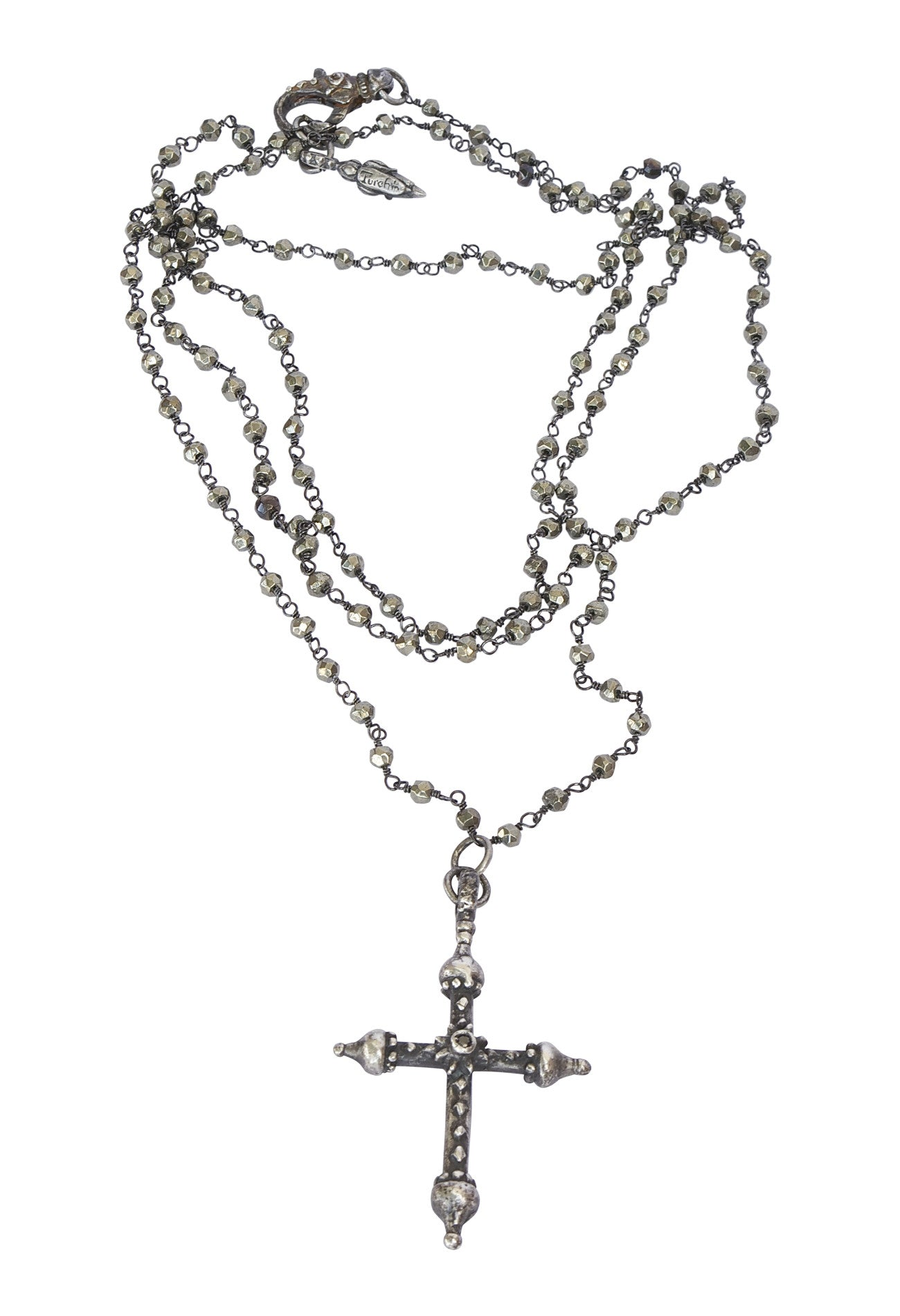 Black Sapphire and Pyrite Artistic Cross Necklace